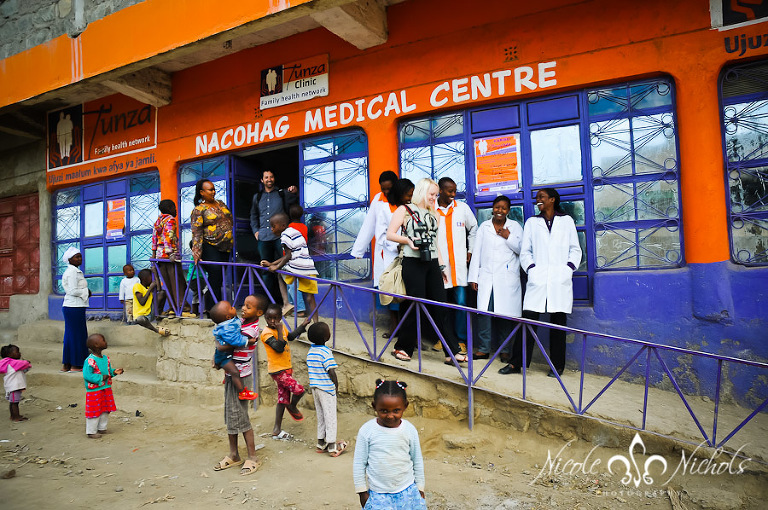 a street full of kids in front of the clinic in Kenya at HIV-AIDS clinic