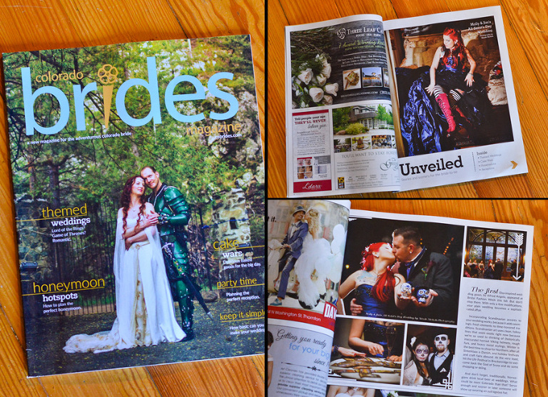 Day of the Dead Victorian Carnival themed wedding featured in CO Brides magazine by Denver wedding photographer