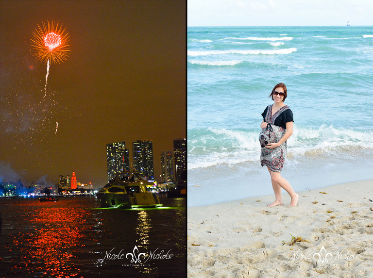 New Years Eve at Midnight and 7 Months Pregnant on Miami Beach January 1st, 2014